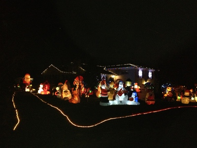 House with 86 inflatables at Night