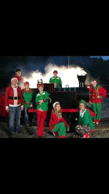 Stewart family Christmas lights train