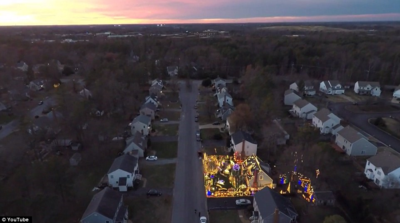 Christmas Lights at Sunset from a Quadcopter Aerial Drone
